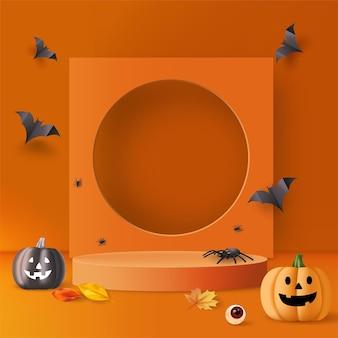 Halloween-achtergrond met podium, pompoenen, spinnen en vleermuizen voor productpromotie. vector