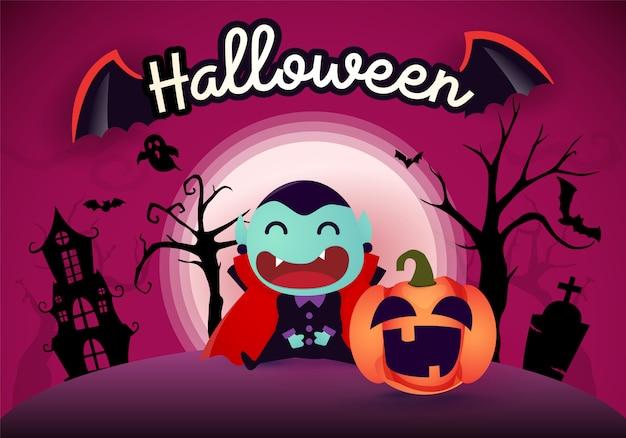 Halloween-achtergrond met pompoen dracula en de maan