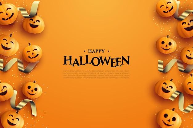 Halloween-achtergrond met pompoen en 3d gouden lint