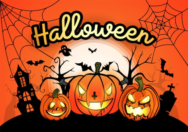 Halloween-achtergrond met pompoen en de maan
