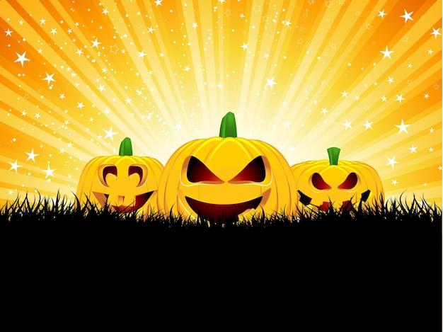 Halloween-achtergrond met pompoenen in gras