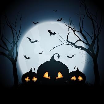 Halloween-achtergrond met pompoenen in spookachtig landschap