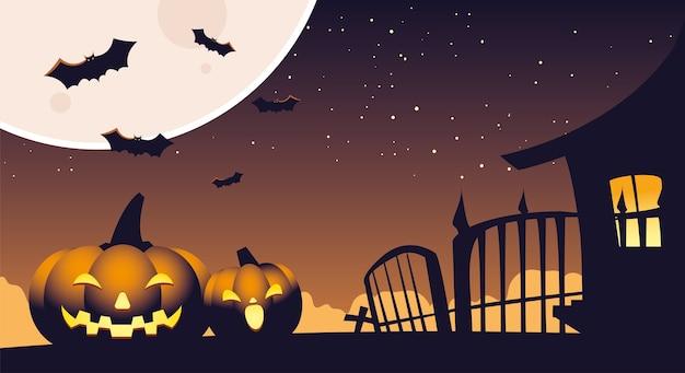 Halloween-achtergrond met pompoenen op de begraafplaats