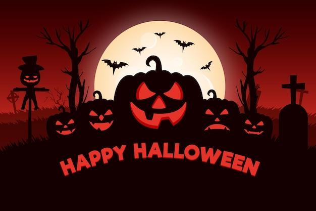 Halloween achtergrond met pompoenen