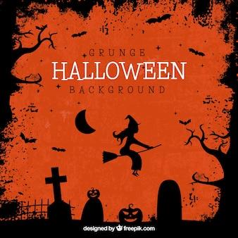 Halloween achtergrond met silhouetten van graven en heks vliegen