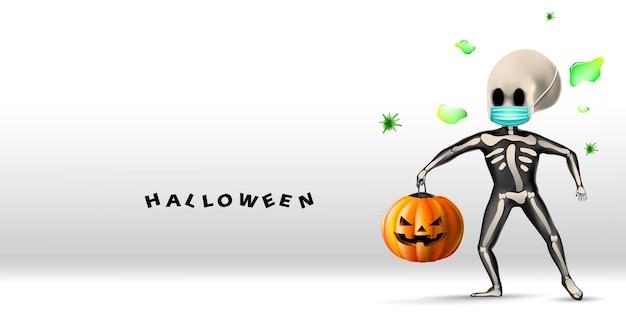 Halloween-achtergrond met skelet dat gezichtsmasker draagt dat beschermt tegen coronavirus of covid-19