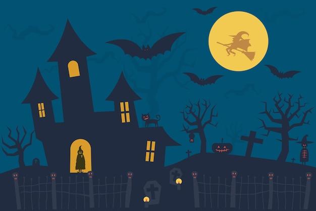 Halloween-achtergrond met spookhuis, volle maan en vliegen