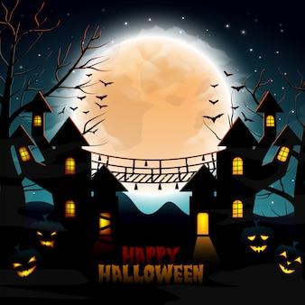 Halloween-achtergrond met spookhuis