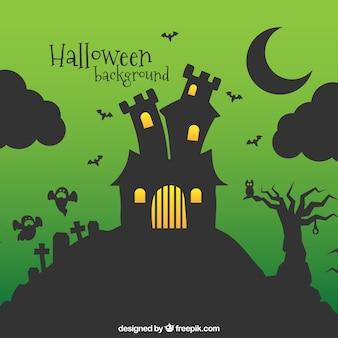 Halloween achtergrond met spookhuis