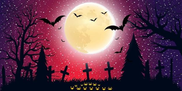 Halloween-achtergrond met verlooplicht in plat ontwerp