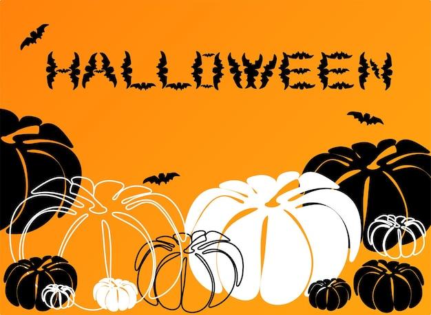 Halloween-achtergrond met verschillende kleuren pompoen en vleermuizen