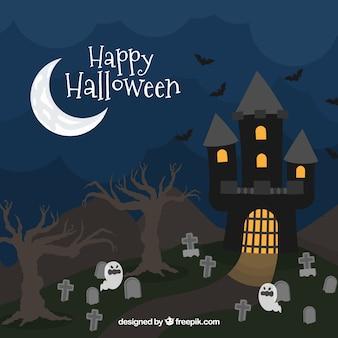 Halloween achtergrond met vlak ontwerp