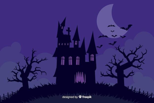 Halloween-achtergrond met vlak ontwerp