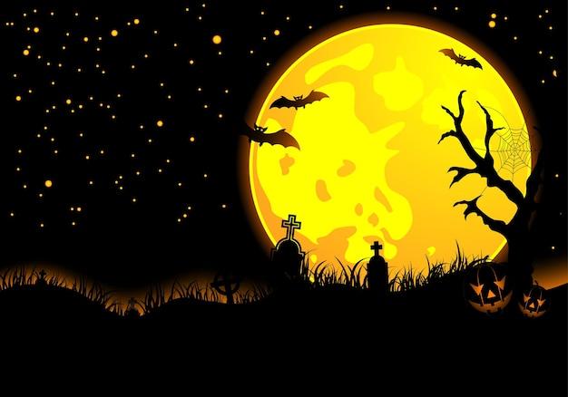Halloween-achtergrond met vleermuis, pompoen, element voor ontwerp, vectorillustratie