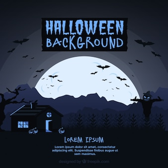 Halloween achtergrond met volle maan en huis
