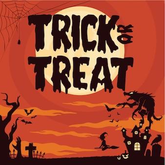 Halloween-achtergrond met warewolfmonster