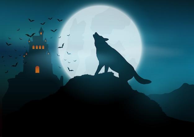 Halloween-achtergrond met wolf die bij de maan huilt