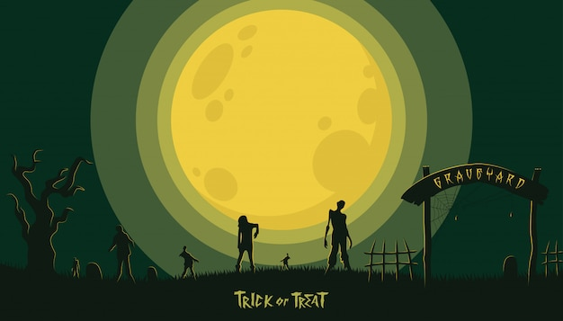 Halloween-achtergrond met zombie op het kerkhof