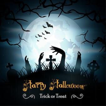 Halloween-achtergrond met zombieën en de maan
