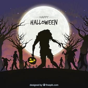 Halloween-achtergrond met zombieën