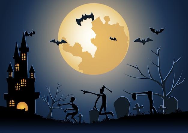 Halloween-achtergrond met zombiekielzog uit onderwereld