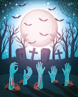Halloween-achtergrond met zombies