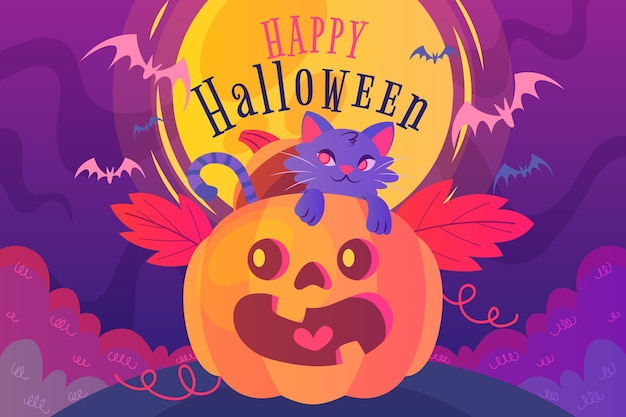 Halloween achtergrond plat ontwerp