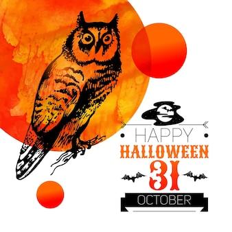 Halloween-achtergrond. typografische affiche. hand getrokken schets en aquarel vectorillustratie
