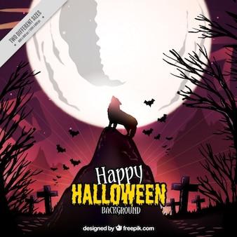 Halloween achtergrond van de wolf die bij de maan