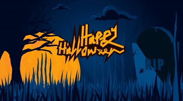 Halloween achtergrond van donkere kerkhof met typen en maan