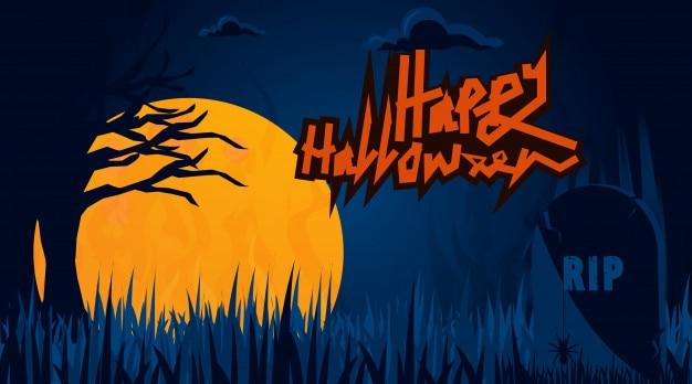 Halloween achtergrond van donkere kerkhof
