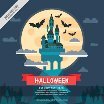 Halloween achtergrond van het kasteel in plat design