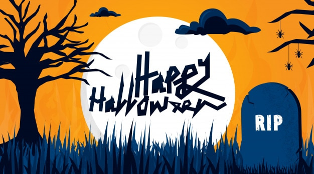 Halloween achtergrond van kerkhof
