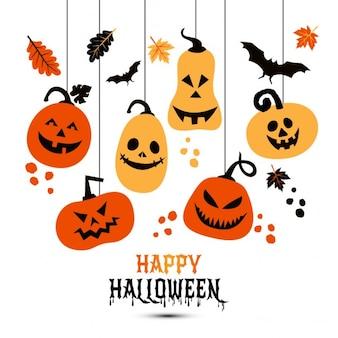 Halloween achtergrond van vrolijke pompoenen