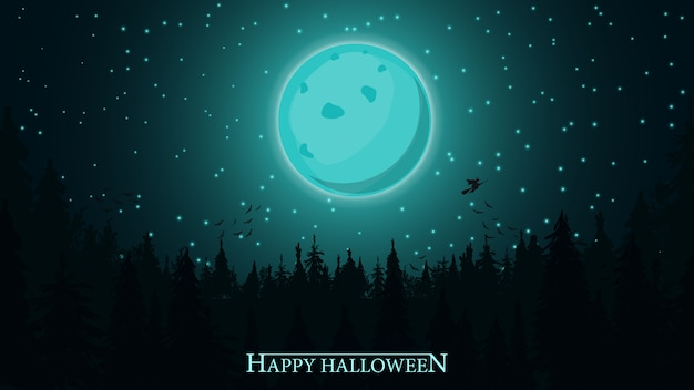Halloween-achtergrond, volle maan over donker bos