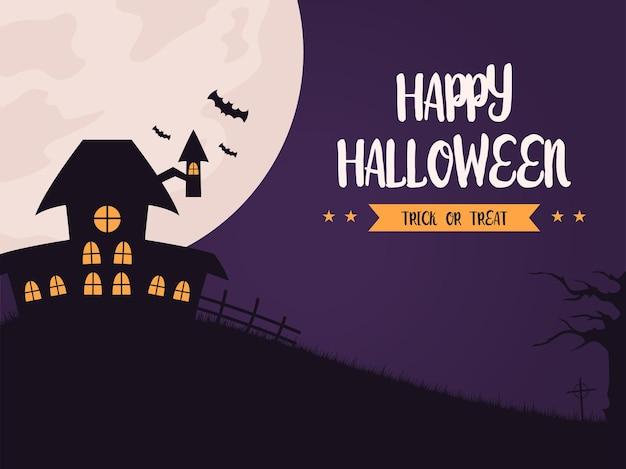 Halloween-achtergrondillustratie in plat ontwerp