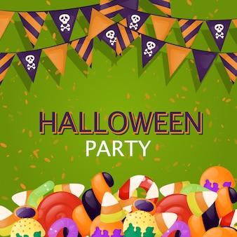 Halloween-achtergrondtruc of behandelt de partijillustratie van het snoepjesvoedsel. herfst griezelige enge uitnodiging
