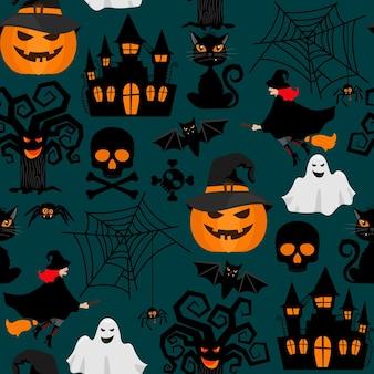 Halloween ambachten inwikkeling naadloos patroon. achtergrond voor halloween-decoraties. vector illustratie
