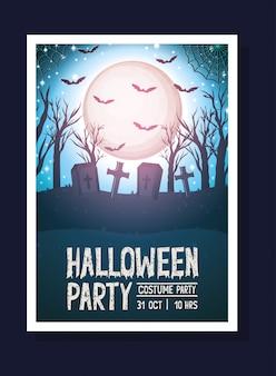 Halloween-ansichtkaart met donkere begraafplaatsscène