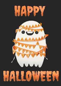 Halloween, aquarel geest gebonden met feestvlaggen.