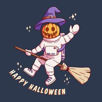 Halloween-astronaut met goochelaarkarakter vectorontwerp beste voor spandoekaffiche en uitnodiging