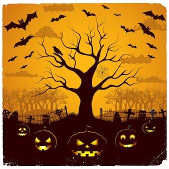 Halloween-avondontwerp met feestelijke lantaarns bij begraafplaatsboom en vleermuizen op gele hemel