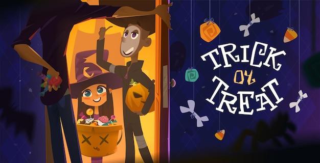 Halloween-avondtijd met kinderen trick or treat