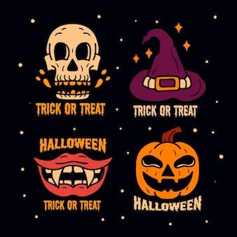 Halloween-badgecollectie in plat ontwerp