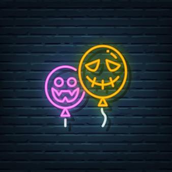 Halloween ballon neon sign vector elementen