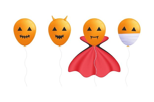 Halloween-ballonversieringen glimlachend gehoornd verkleed als vampiers en mummies in een set