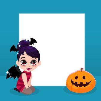Halloween banner heks meisje en pompoen