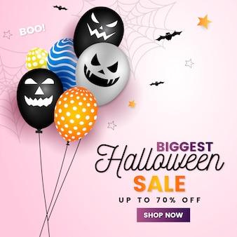 Halloween banner met halloween ghost balloons spider en bat enge luchtballon