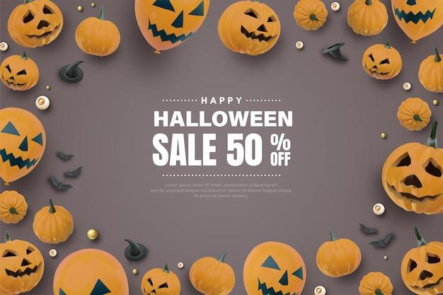 Halloween banner met pompoen en ballonnen 3d