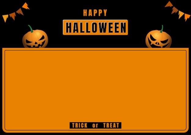 Halloween-banner met pompoenduivel op zwart en oranje frame